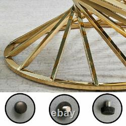 Round Tempered Glass Coffee Table Sofa Side End Table Stainless Steel Legs