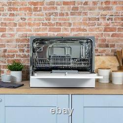 Russell Hobbs RHTTDW6W White Table Top Dishwasher with 6 Programmes & 6 Settings