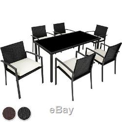 Set 6 Chairs 1 Table Poly Rattan Garden Aluminium Stainless Steel Home Furniture