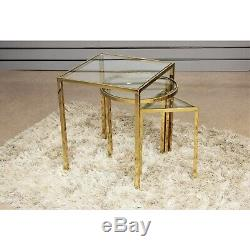 Set Of 3 Theo Golden Stainless Steel And Glass Nesting Side End Tables Furniture