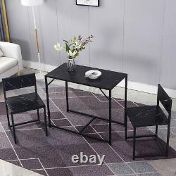 Set of 3 Dining Table +2 Bench Chair Set Dining Room Kitchen Furniture Metal Leg