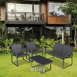 Sigtua 4 Seater Garden Furniture Set Loveseat Single Chairs Tempered Glass Table