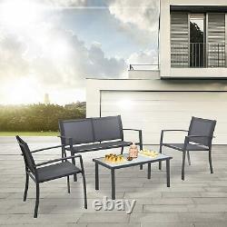 Sigtua Outdoor Garden Patio Set Double Chair Sofa Glass Table ArmChairs 4 Seater