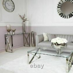 Silver Stainless Steel Console Table Hall Clear Glass Display Modern Cross Home