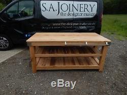Solid English OAK butchers block kitchen island table workstation huge 6 feet