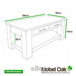 Solid Light Oak Coffee Table with Drawers Oak Living Room Furniture MB009