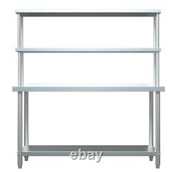 Stainless Steel 2-Tier Over Bench Shelf Catering Kitchen Storage For Prep Tables