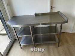 Stainless Steel Catering Table With Shelves, Worktop, Kitchen Industrial Used