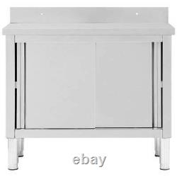 Stainless Steel Commercial Catering Table Work Bench Kitchen Worktop Cupboard