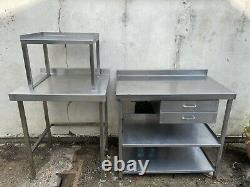 Stainless Steel Commercial Catering Tables Bbq Prep Station WithDrawers & Shelves
