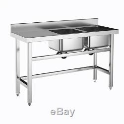 Stainless Steel Commercial Double Sink Wash Table Platform Kitchen Catering Sink