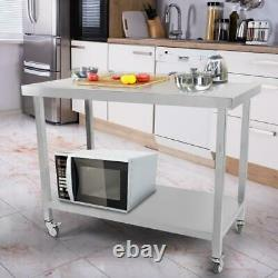 Stainless Steel Commercial Kitchen Food Prep Work Table Oven Shelf Bench Wheels