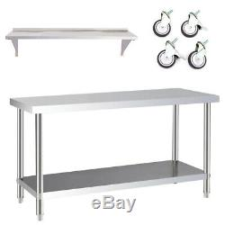 Stainless Steel Commercial Kitchen Set Catering Table Work Bench Shelve /Castors