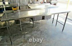 Stainless Steel Commercial Prep Table with Adjustable Feet. Restaurant Kitchen