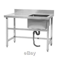 Stainless Steel Commercial Sink Single Bowl Kitchen Catering Prep Table WasteKit