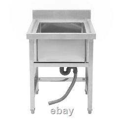Stainless Steel Hand Wash Basin Stand Commercial Kitchen Sink Table withSplashback