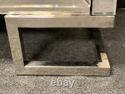 Stainless Steel Mirrored Corner TV Unit Sparkly Silver Diamond Crush Crystal