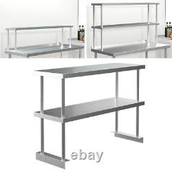 Stainless Steel Prep Work Table Bench Over Shelf Commercial Catering Kitchen Use