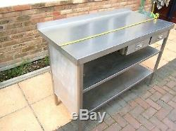 Stainless Steel Table 2 Shelf under 2 Drawers Upstand etc