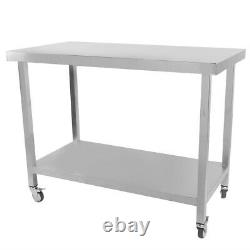 Stainless Steel Work Bench Commercial Catering Table Kitchen Food Prep Trolley