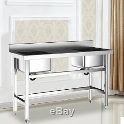 Steel Commercial Kitchen Sink Catering 2 Bowl Wash Table with Middle Platform