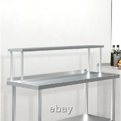 Steel Commercial Prep Catering Table With Extra Over Shelf Workbench Kitchen Set