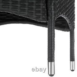 Steel Poly Rattan Garden Furniture Set Patio Wicker 2x Chair 1x Table black new