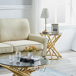 Tempered Glass End Table Coffee Table Stainless Steel Leg Side Table Living Room