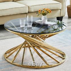 Tempered Glass Top Coffee Table Stainless Steel Legs Side End Tables Living Room