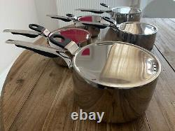 Terence Conran set of 5 stainless steel saucepans
