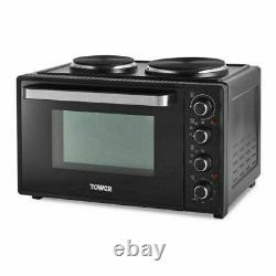 Tower 32L Table Countertop Compact Electric Mini Oven & Grill Black 2 Hotplates