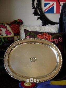 Ultra RARE Vintage GUCCI Silver Table Service Tray Platter Cocktail Party Plate