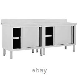 VidaXL 2x Work Tables with Sliding Doors Stainless Steel Kitchen Store Cabinet