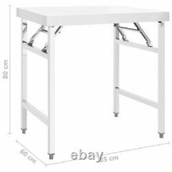 VidaXL Kitchen Folding Work Table 85x60x80 cm Stainless Steel Catering Bench