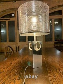 Vintage French Brutalism 1970s Stainless Steel Table Lamp, MCM, Space Age