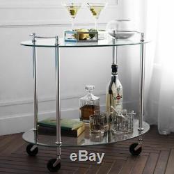 Vintage Serving Drinks Trolley Cart Metal Bar Side Table Glass Shelves Storage