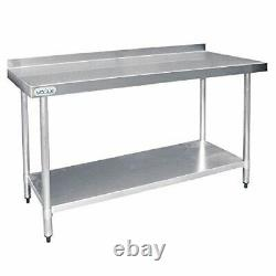 Vogue Stainless Steel Prep Table with Upstand 900X1800X600mm Commercial