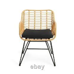 VonHaus Rattan Bistro Set Hand Woven Wicker Outdoor Garden Furniture