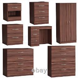 Walnut Modern Chest of Drawers Bedside Table Wardrobe 1 2 3 4 5 Drawer Bedroom