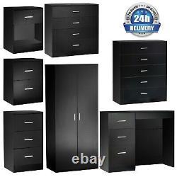 Wardrobe Black Chest Of Drawers Dressing Bedside Table Cabinet Bedroom Furniture