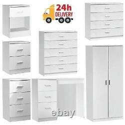 White Chest of Drawers Bedside Table Wardrobe 1 2 3 4 5 Drawer Bedroom Furniture