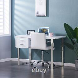 White High Gloss Computer Desk with 2 Drawers Makeup Dressing Table Home Office