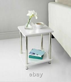 White High Gloss Norsk 2 Shelf Unit With Stainless Steel Legs Coffee Side Table