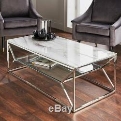 White Marble Glass Coffee Table With Silver Stainless Steel Legs & Glass Shelf