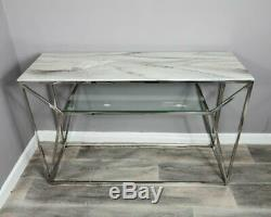White Marble Glass Console Side Hall Table With Silver Stainless Steel Legs