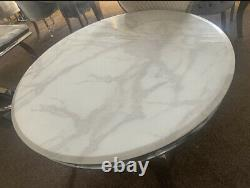 White Or Grey Marble Louis Round Dining Table With Stainless Steel Legs 130 Cm
