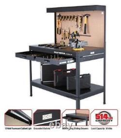 Work Bench with Light PowerStrip Table Reloading Machine Shop Garage Hobby Steel