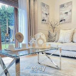 X Shape Coffee Table Stainless Steel With Glass Top