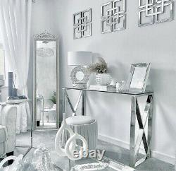 X Shape Console Table Stainless Steel With Glass Top