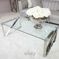 X Shape Zenn Coffee Table Stainless Steel Legs and Glass Top